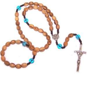Top quality olive wood beads Rosary with Crystal glass beads
