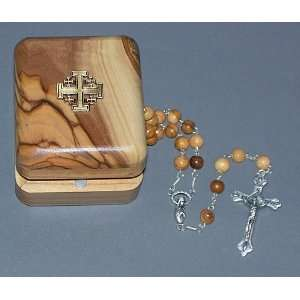6 mm round Olive Wood Rosary   cross   17.5 Long