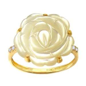14K Yellow Gold Large Flower Ring with Diamonds Mother of Pearl, size7