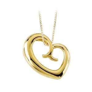 Yellow Gold 25.50 x 21 MM Mothers Love Heart Pendant with Chain