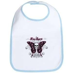 Baby Bib Sky Blue Butterfly Skull Free Spirit Wild Child