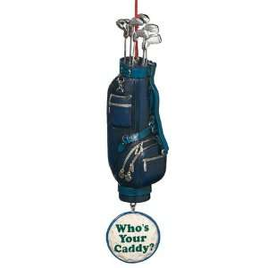 Blue Golf Bag with Dangle Whos Your Caddy? Christmas Ornament