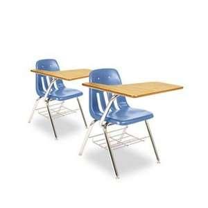9700 Series Chair Desk, 18 3/4w x 31d x 30 1/2h, Medium Oak/Blueberry