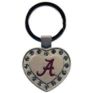 NCAA Alabama Crimson Tide Metal Heart I Luv Keychain