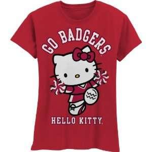 Badgers Hello Kitty Pom Pom Girls Crew Tee Shirt