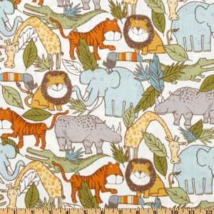 44 Wide The Mighty Jungle Organic Animal Friends Multi Fabric By The