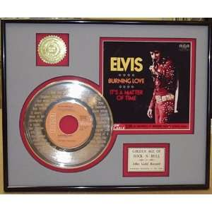 Elvis Presley Burning Love Framed 24kt Gold Record Display   Great