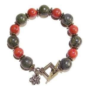 The Black Cat Jewellery Store Serpentine, Coral & Brass Bracelet 20