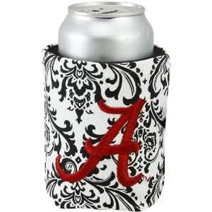 NCAA Alabama Crimson Tide Black White Paisley Canvas Can