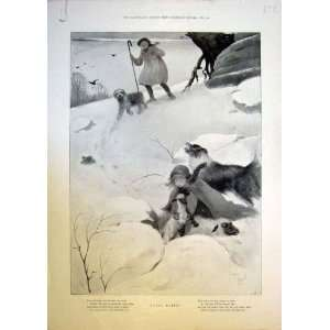 Bo Peep Rhyme Dogs Snow Girl Lamb Sheep Shepherd 1898
