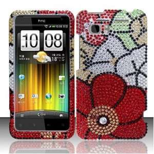 FALL FLOWERS Hard Plastic Bling Rhinestone Case for HTC