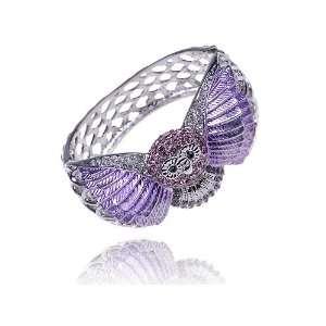 Lavendar Purple Painted Owl Bird Wing Silver Tone Crystal