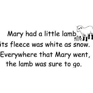 Mary Had a Little Lamb Nursery Rhyme Vinyl Wall Art Decal