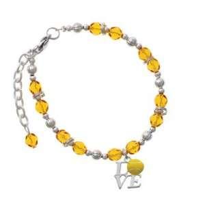 Silver Love with Tennis Ball Yellow Czech Glass Beaded Charm Bracelet