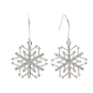 White Gold 3/8 ct. Diamond Snow Flake Earrings Katarina Jewelry
