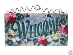 WELCOME SIGN cottage shabby style romantic roses daisy
