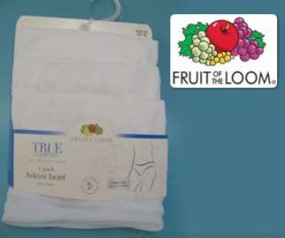LADIES FRUIT OF THE LOOM 3 PACK BIKINI BRIEFS WHITE 10 or 12 UK sizes!