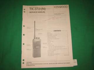 Kenwood radio service repair manual TK 372 372N UHF