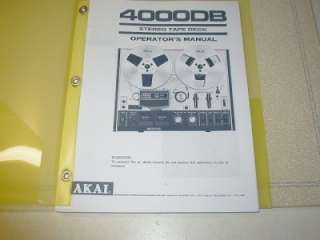 AKAI 4000DB REEL TO REEL TAPE DECK OPERATORS MANUAL