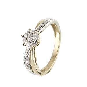Two Colour Gold Quarter Carat Diamond Ring   Product number 6118992