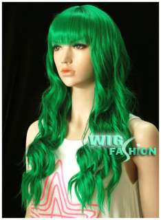 53cm Long Green Curly Hair Wig LH53