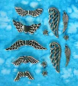 Silver ANGEL WING Charm, Bead & Spacer Sets 17mm 32mm   3 Day Delivery