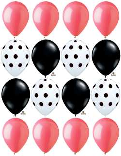 16 POLKA DOT White Black Pink LADIES 11 Party Balloons