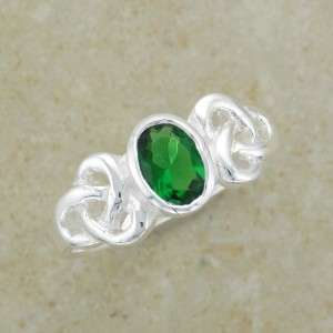Irish Celtic Knot Ring Size 6   With Green Emerald Cubic Zirconia