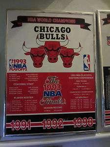 Chicago Bulls 1991 1992 1993 NBA Finals World Champions Plaque