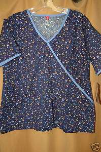 Dickies scrubs print top Daisy 100% cotton BLUE NEW L