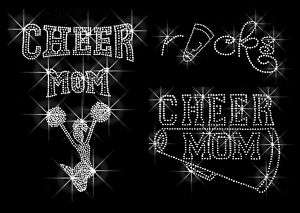 CHEER MOM RHINESTONE IRON ON TRANSFERS HOT FIX BLING
