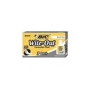 BIC Wite Out Quick Dry Correction Fluid, 3/Pack: Office Products