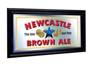 Newcastle Brown Ale Framed Pub Mirror Black Wood Frame