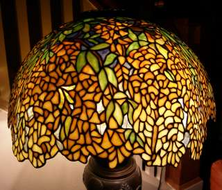 Tiffany Reproduction Stained Art Glass Lamp Shade Gold Laburnum 22