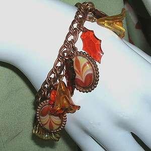 Vintage Fall Autumn Leaves Charm Bracelet OOAK Rust Gold Paprika