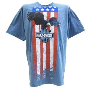 Harley Davidson Las Vegas Dealer Tee T Shirt Flag Eagle BLUE XL