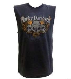 Harley Davidson Las Vegas Dealer T Shirt Tank Top Skulls Black MEDIUM