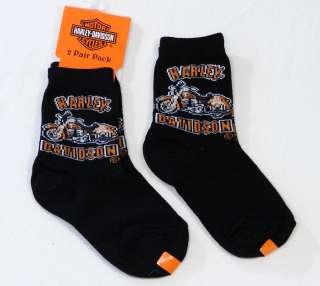 Harley Davidson Little Boys Black Socks 2 Pairs NWT