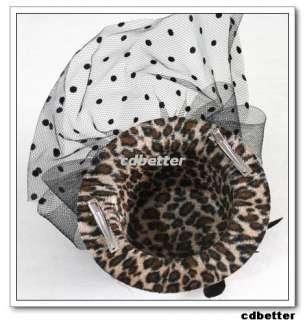 Lady Party Fashion Leopard Print Mini Clip Hats Fascinators Headdress