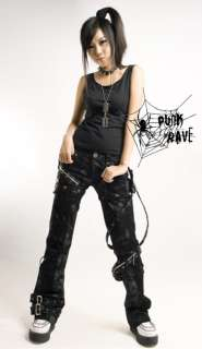 sexy visual kei PUNK Rave gothic skull rock removalbe pants trousers S