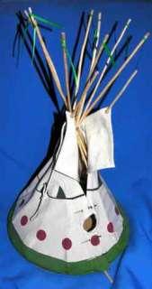 FAB 2001 SIGNED FOLK ART MODEL/DOLL HOUSE INDIAN TEEPEE WIGWAM