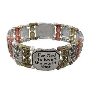 Inspirational Tri Tone Stretch Bracelet John 316 Jewelry