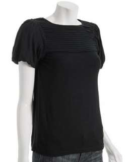 Design History black pleated jersey puff sleeve top   up to 70