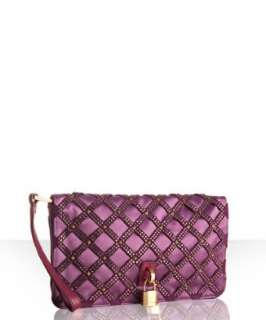 Marc Jacobs purple satin crystal and stud clutch