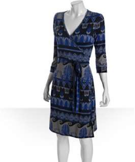 JB by Julie Brown blue nordic printed jersey wrap dress   up