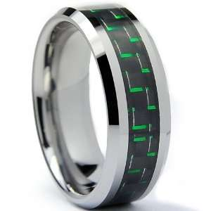 8MM Mens Tungsten Carbide Ring W/ BLACK & GREEN Carbon Fiber Inaly