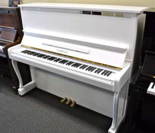 Yamaha upright piano white polish disklavier player piano for White yamaha piano
