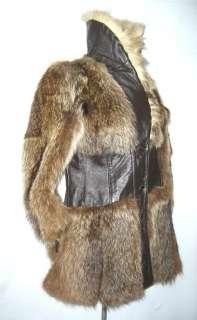 Vtg 60s Canadian Arctic Wolf Raccoon Fur Leather Coat