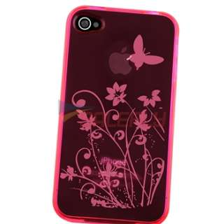 TPU Pink Flower Case Cover+PRIVACY SCREEN FILTER Film for iPhone 4 s