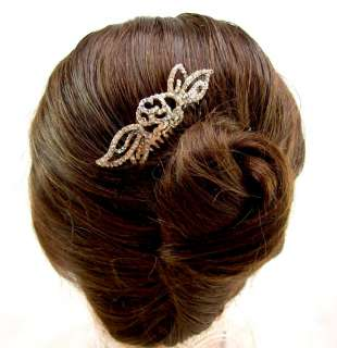 Beautiful Bridal Crystal Rose Leaf Hair Comb NEW